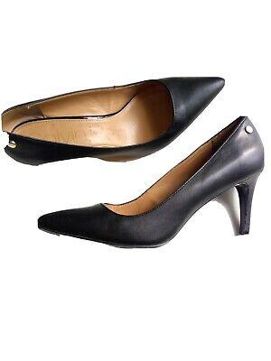 Calvin Klein Womens Black Pumps Size 8.5 Leather High Heels