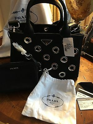 NWT Prada bag/cross body grommet black saks proof of purchase
