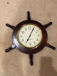 Nautical Wooden Ship Wheel With Quartz Times Wall Clock Brass Metal Decorum