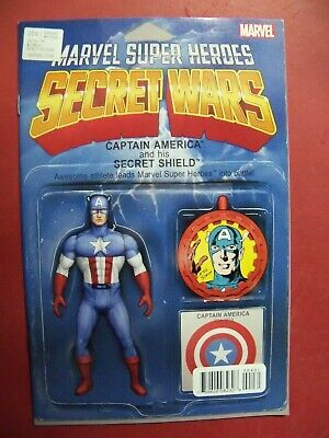 CAPTAIN AMERICA  #4, SECRET WARS,  ACTION FIGURE VARIANT (9.4 NM/BETTER)
