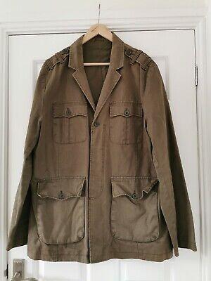 Burton Green Khaki Military Cotton Jacket Coat XL pockets lined