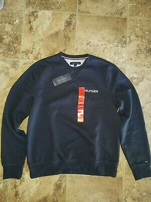 Tommy Hilfiger Crew Neck Sweatshirt Sky Captain Navy Blue Long Sleeve Shirt M