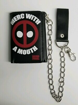 "Marvel Comics & Bioworld Deadpool ""Merc with a Mouth"" Trifold Chain Wallet NEW"