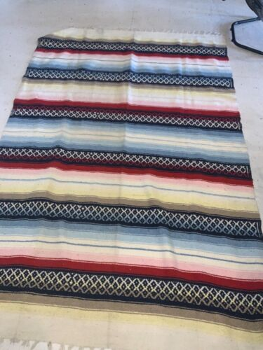 AUTHENTIC MEXICAN BLANKET YOGA MAT BLANKET  84 1/2 x 55 1/2
