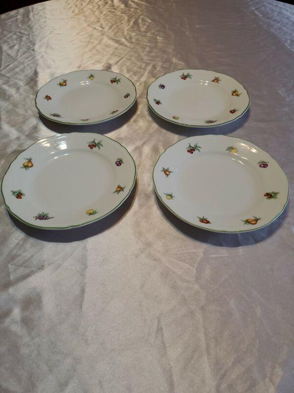 "4 Richard Ginori Eden Dessert Plates 6 3/4"" Petite Fruits Green Trim Beautiful!!"