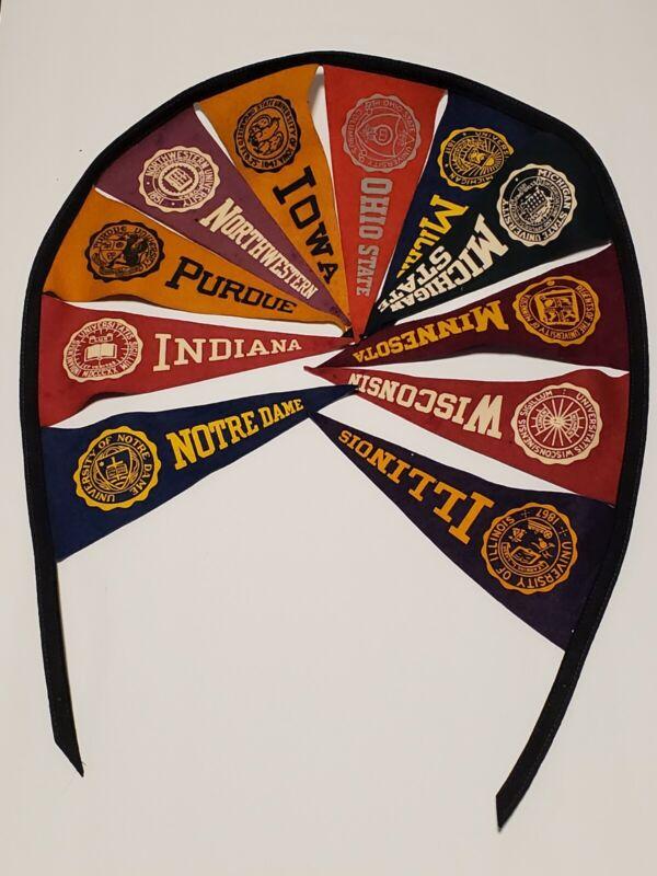 Vintage 1960s Big Ten Felt Pennant Banners plus Notre Dame