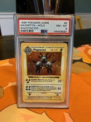 Pokemon PSA 8 NM 1999 Shadowless Base Set Magneton Holo Card 9/102