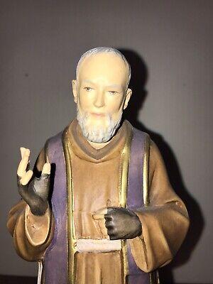 Wood Carved Saint Padre Pio Catholic Church Statue Relic Italy Dolfi 11 Inches Church Angel Statue