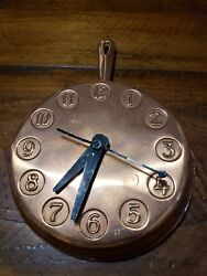 Vintage Copper Frying Pan Wall Clock Retro Country Kitchen Carter Craft