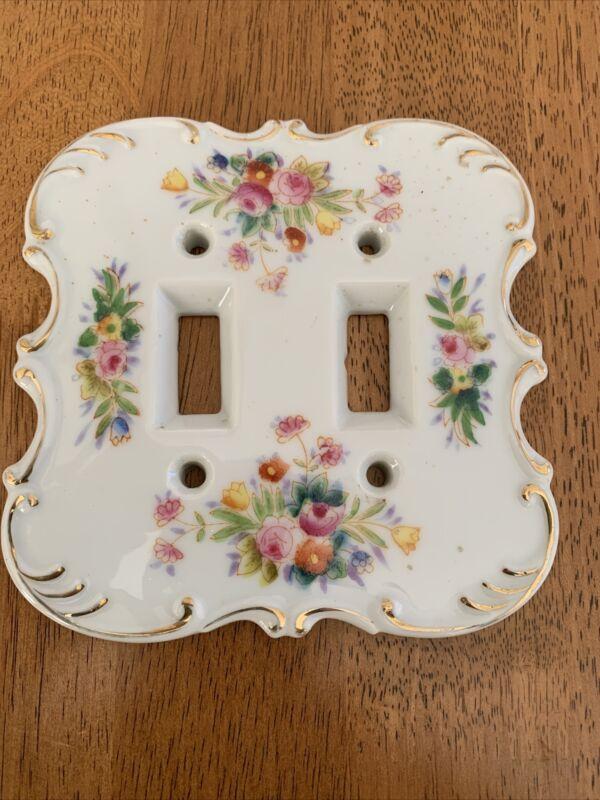 Vintage Porcelain Light (Dbl)Switch Cover