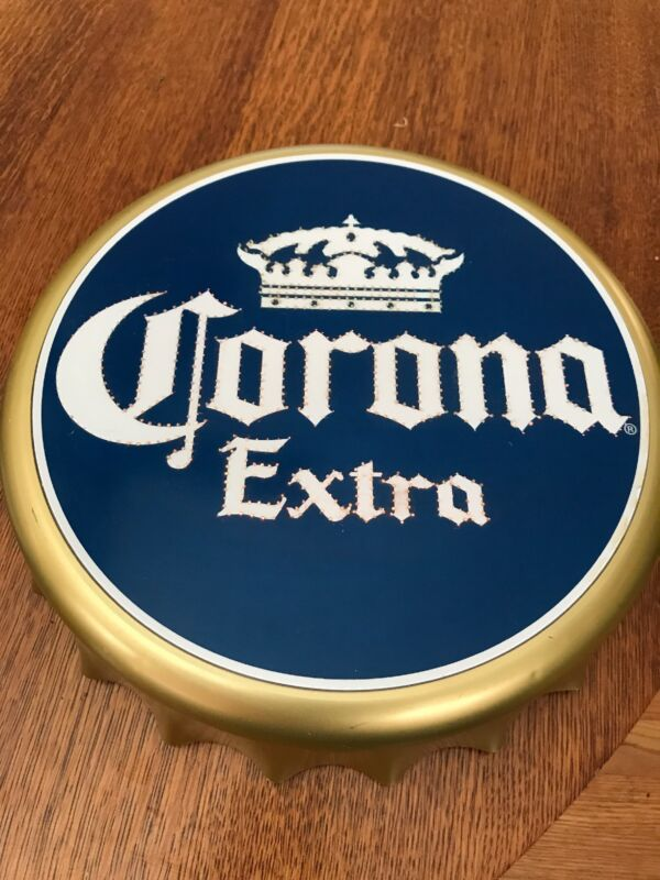 CORONA EXTRA Bottle Cap LIGHTED, COLOR CHANGING Easel-back Sign. MAN CAVE