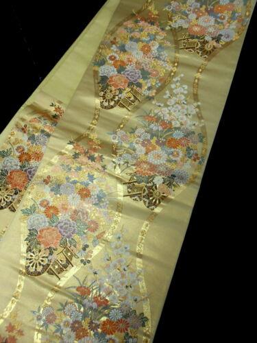"Japanese Kimono SILK Fukuro OBI, Rokutu ,Gold thread/ foil, Rowel, L163""...1609"