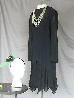 1920s Dress Flapper Costume Great Gatsby Style Art Deco Black  - Gatsby Style Costume