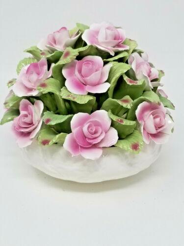Vintage Hand Modelled Aynsley Bone China England Pink Rose Flower Bouquet