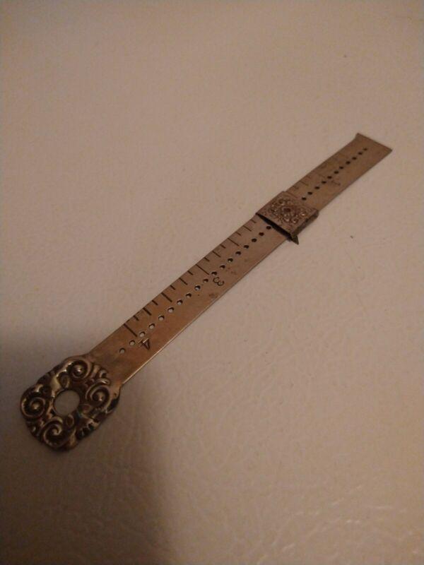 Antique Sterling Silver Hem Gauge - Sewing Ruler