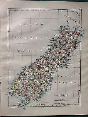 1900 VICTORIAN MAP ~ NEW ZEALAND SOUTH ISLAND STEWART ISLAND LAKE CHRISTCHURCH