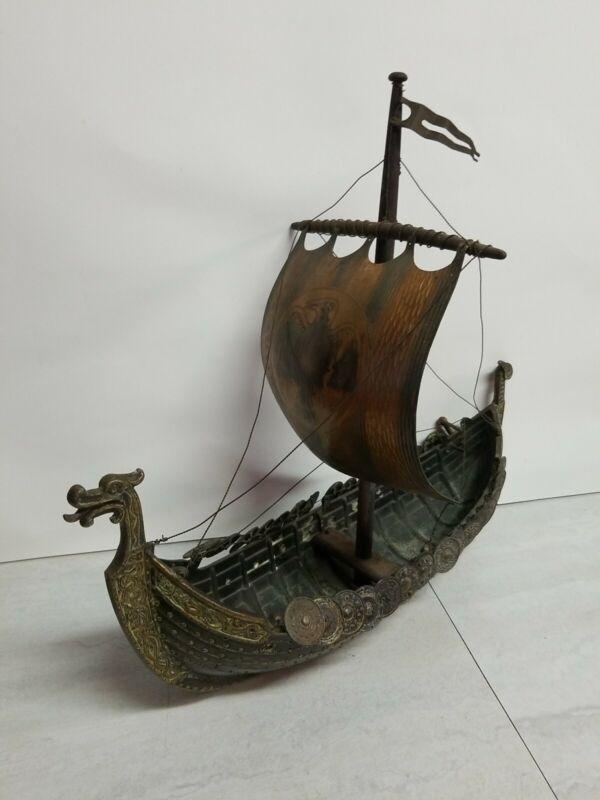 Large Vintage Bronze Viking Dragon Ship by Edward Aagaard by IRON ART Copenhagen