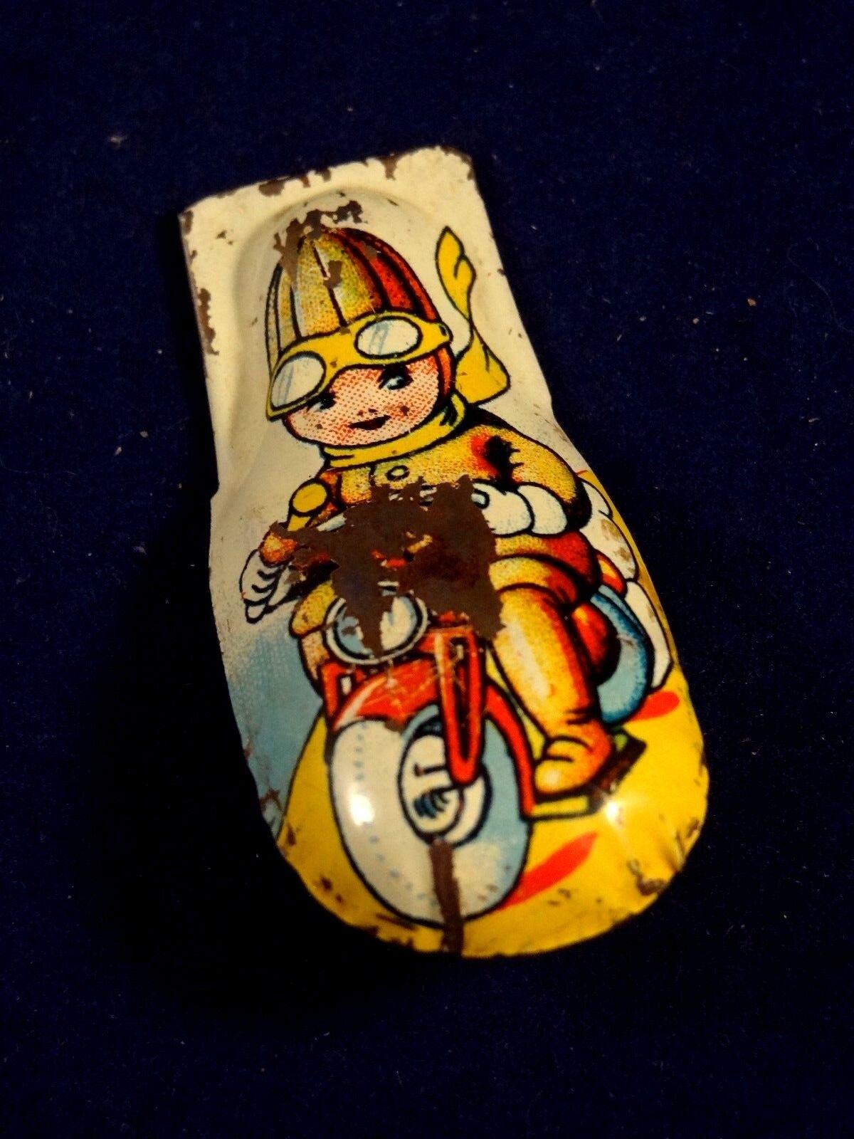 Ancien jouet clic-clac clicker tôle enfant motard moto us zone germany 1950