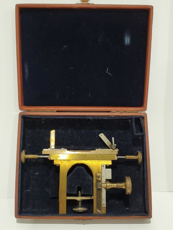 Antique Brass C. Reichert Wien Microscope Mechanical Stage With Original Fitted