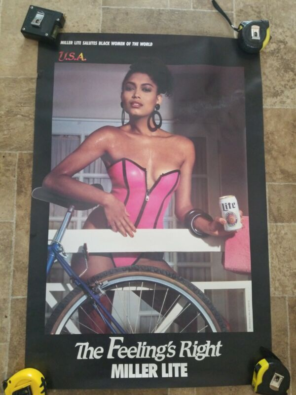 (VTG) miller lite Beer Poster sign sexy girl with bike man cave game room
