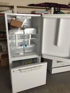 NEW Amana white, bottom fridge.