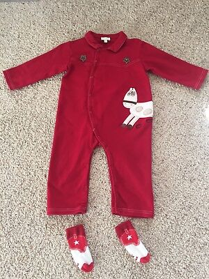 Western Themed Outfits (Baby Boy One Piece Western Theme Botique Outfit/socks Size 24)