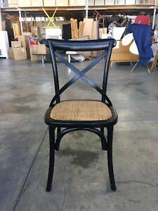 NEW DINING CHAIR: COTTAGE BLACK GLOSS CROSSED-BACK TIMBER CHAIR S Leumeah Campbelltown Area Preview