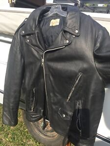 Authentic Brush Fire Heavy Leather Biker Jacket