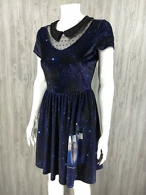 BBC Doctor Who Hot Topic Collection Galaxy Dress Small Blue Peter Pan Babydoll