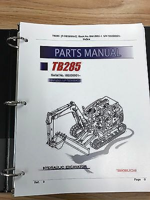 Takeuchi Tb285 Parts Manual Sn 185000001 Free Priority Shipping