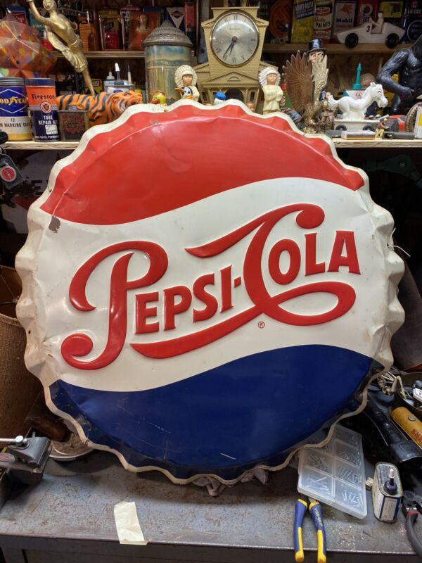 Vintage Pepsi Cola Bottle Cap Advertising Sign USA M -16 ~ 03-64