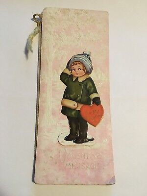 Antique Original c.1918 Tall Valentine's Day Card-Cat Pic-long Poem - Embossed