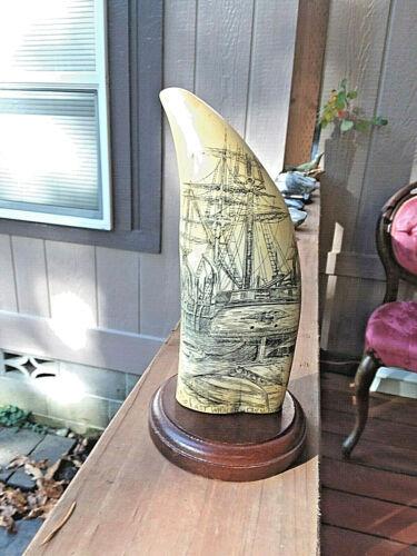 "7 3/4"" ArTek Scrimshaw Tooth Commemorating The Last Great Whaler Ship"