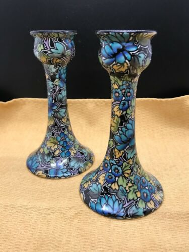 "Antique Grimwades Royal Winton Teal ""BIG FLOWERS & LEAVES"" Chintz Candle Holders"