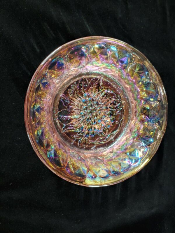 PINK/AMBER IRIDESCENT CARNIVAL GLASS SERVING BOWL VINTAGE