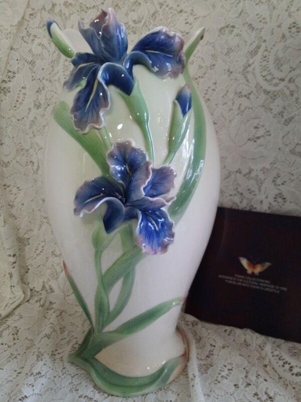 "Beautiful 14"" Franz 3D Porcelain IRIS Vase"