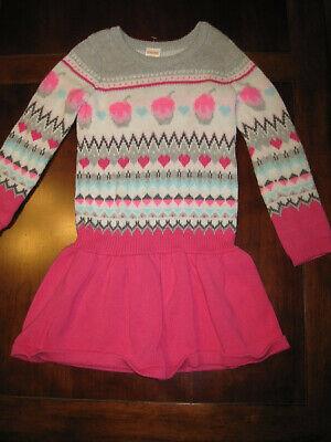 Gymboree Girl Nordic Ice Cream Sundae Cotton Blend L/S Sweater Dress XS 4 EUC