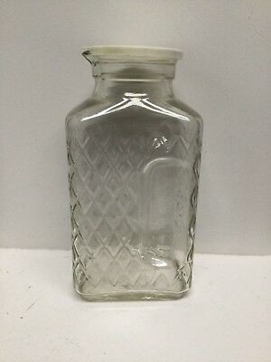 2-Quart Art Deco Refrigerator Bottle Container Pressed Glass Hand Holds RD4