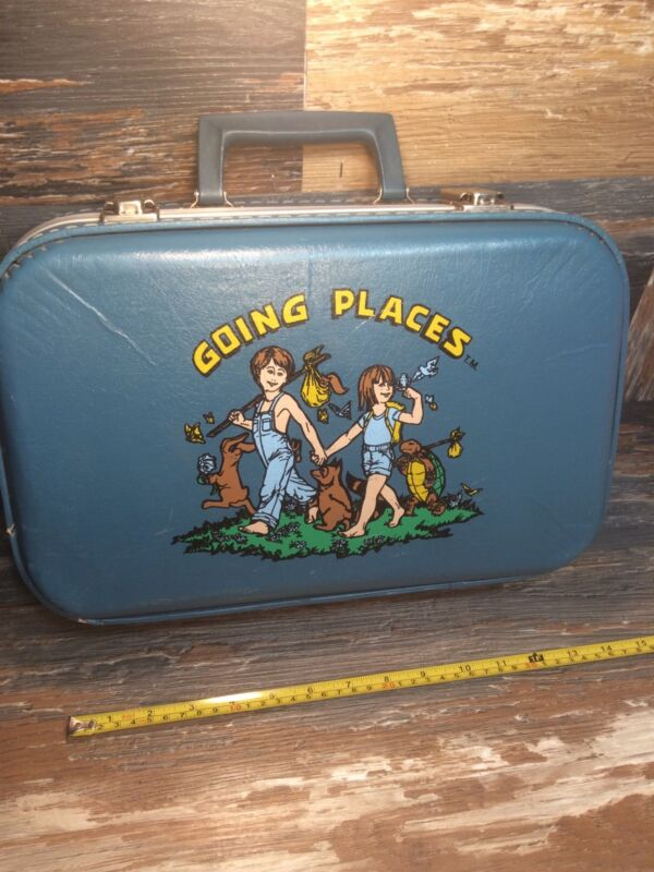 VTG Luggage Going Places Boy and Girl Child Blue Hard Suitcase Travel