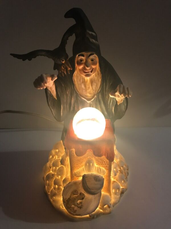"""Vintage Halloween Porcelain Witch Statue Night Light 1989 Taiwan YDC York, PA 8"""""""
