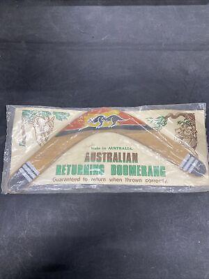 Vintage Australian Returning Boomerang Hand Carved Painted Never Used Sealed