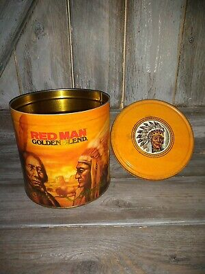 Vintage 1988 Red Man Golden Blend Limited Edition Tin Can Native American 6x6