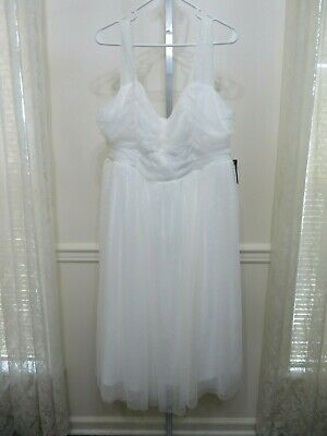 White Occasion Dresses (Torrid SPECIAL OCCASION WHITE LACE MIDI DRESS Size 20 Plus Size)