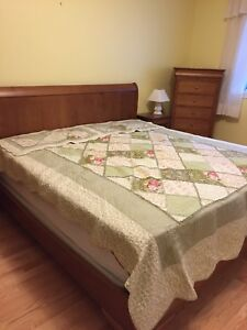 King Size Sleigh Bed and Mattress - Shermag
