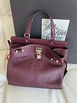 SALE($1400+) ! NWT AUTHENTIC VALENTINO Pebbled Leather Shoulder Bag Maroon Color