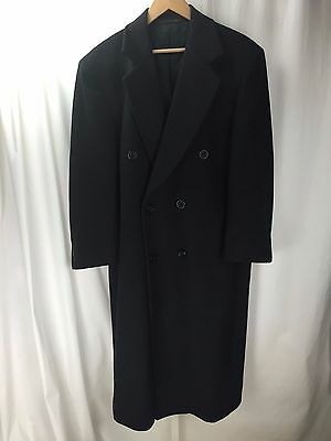 Length Charcoal Top Coat - GGG Charcoal Dbl Breasted Wool/Cashmere Blend Full Length Overcoat Top Coat 40S