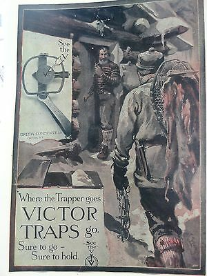 Victor Traps Advertising Poster Where Trappers Go. Edwards Artist Oneida, N.Y.