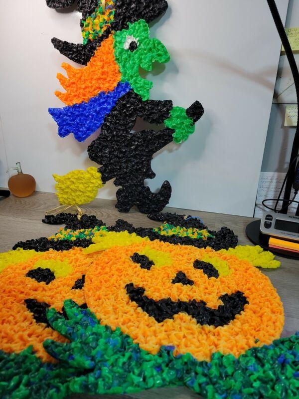 3 Vtg Melted Plastic Popcorn Halloween Decor Witch & 2 Pumpkin Jack-O-Lantern