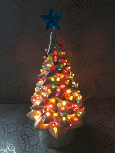 Vintage Small 10 High Ceramic White Christmas Tree Lots of Lights
