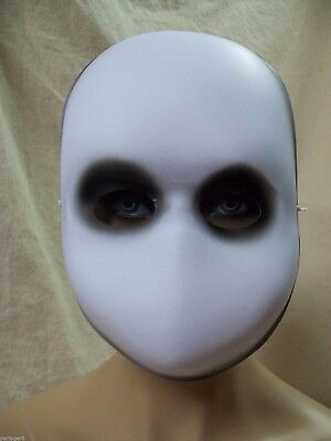 Creepy Blank Face Black Eyes Costume Mask Haunted Ghost Apparition Faceless Doll - Black Face Mask Costume